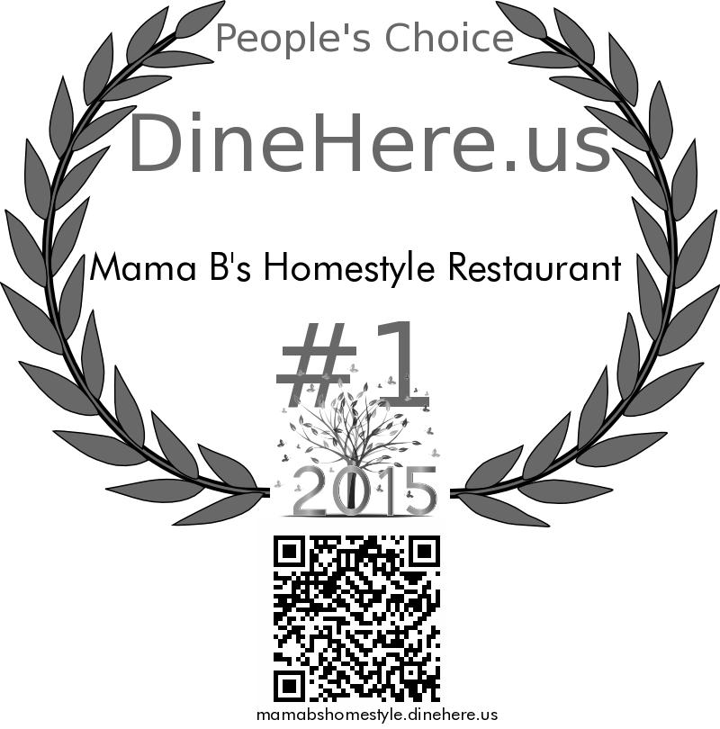Mama B's Homestyle Restaurant DineHere.us 2015 Award Winner