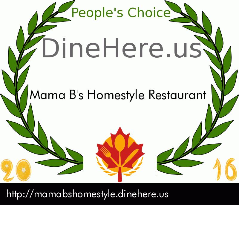 Mama B's Homestyle Restaurant DineHere.us 2016 Award Winner