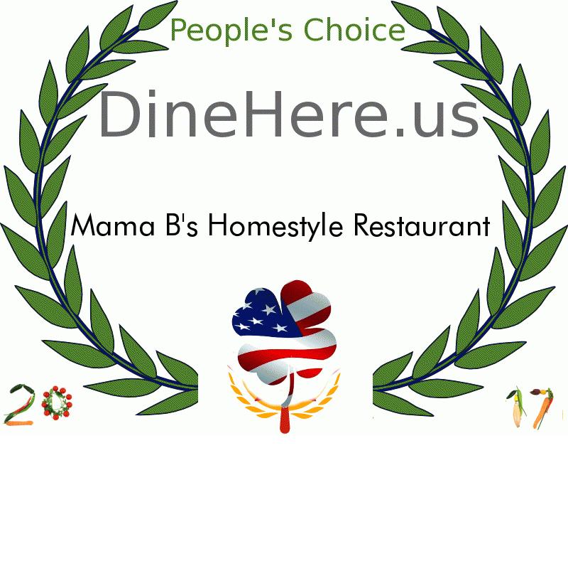 Mama B's Homestyle Restaurant DineHere.us 2017 Award Winner